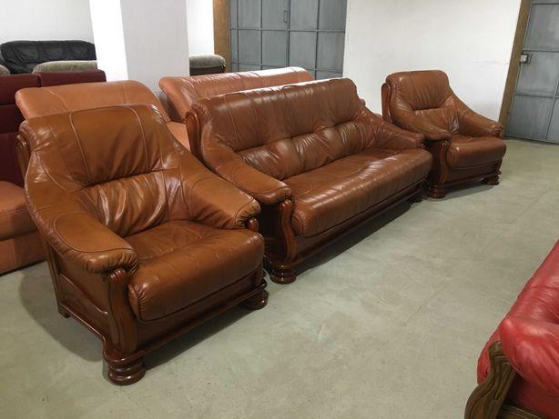 Шкіряний диван+2крісла на дубовому каркасі (кожа)