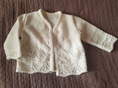Sweterek biały r 62 chrzest chrzciny