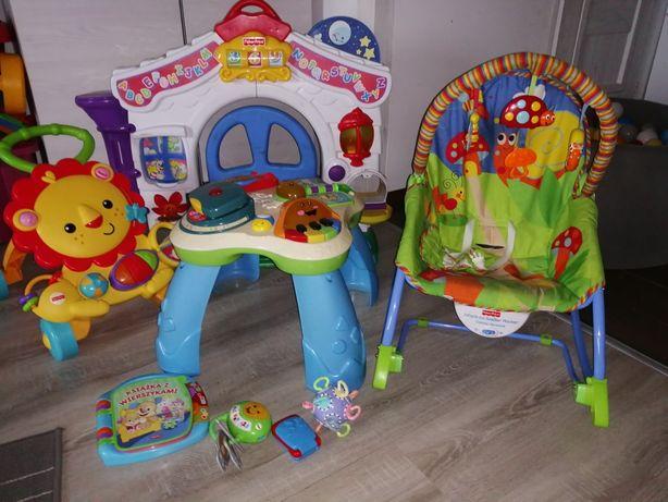 Zestaw zabawek Fisher price stolik edukacyjny pchacz Leżaczek bujaczek