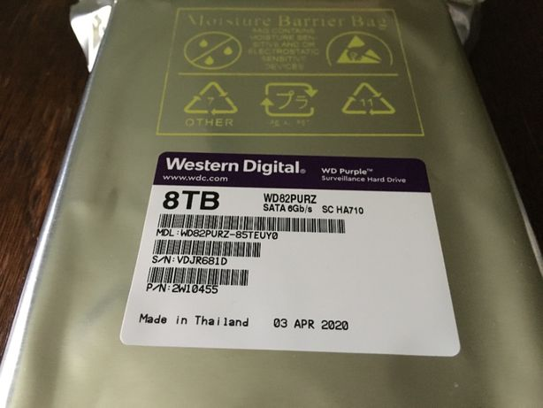 Жесткий диск Western Digital Purple 8TB 256MB 7200rpm WD82PURZ 17500р