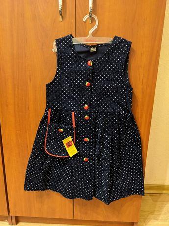 Платье Elmak новое Польша девочка р 128 яблоки синее горошек вельвет