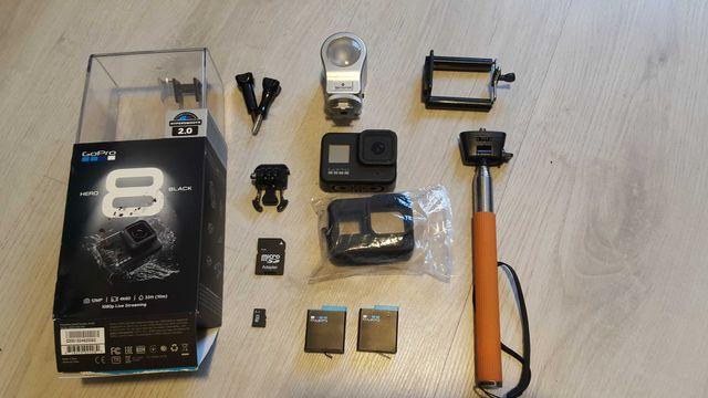 Go pro 8 hero Pełny zestaw + 2 bateria + karta + akcesoria + światło