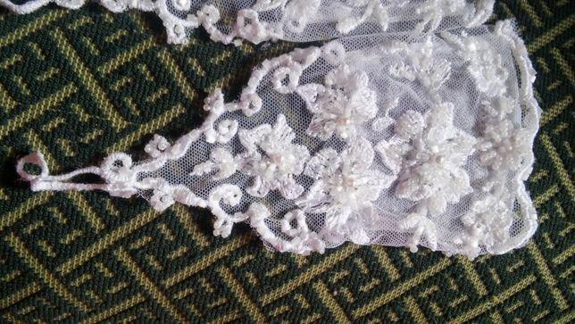 свадебные короткие перчатки + новая шаль