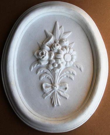 moldura oval de gesso liga especial com flores esculpidas, para pintar