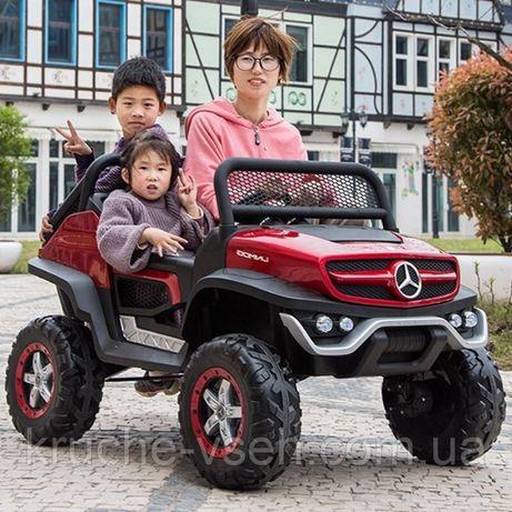 Детский электромобиль Джип M 4133, Mercedes UNIMOG, 4WD, кожа, EVA