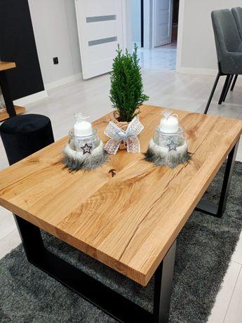 Stolik kawowy dębowo-stalowy 90x60x45