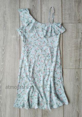 sukienka hiszpanka na lato niebieska błękitna łączka kwiaty hit 40 42