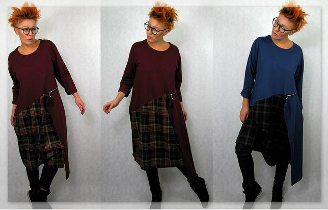 Nowość unikatowa włoska sukienka dresowa L XL XXL