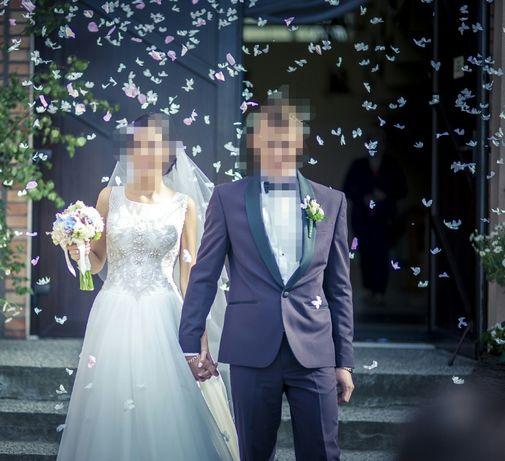 smoking garnitur ślubny wyjątkowy piękny kolor
