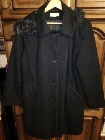 Płaszcz damski długi z rozpinanym kapturem, rozmiar 46