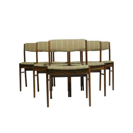 Cadeiras Dinamarquesas em Pau Santo e Lã   6 Cadeiras de Jantar