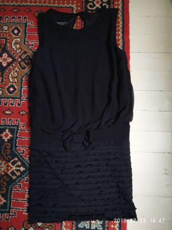 Платье плаття М 44 46 чорний черный плисе вечеринка новый год свято