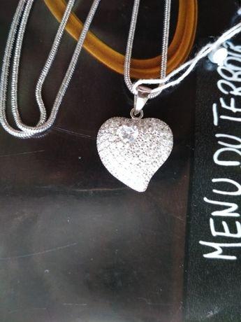 Набор серебро срібло цепочка кулон подвес сердце эксклюзив фионит