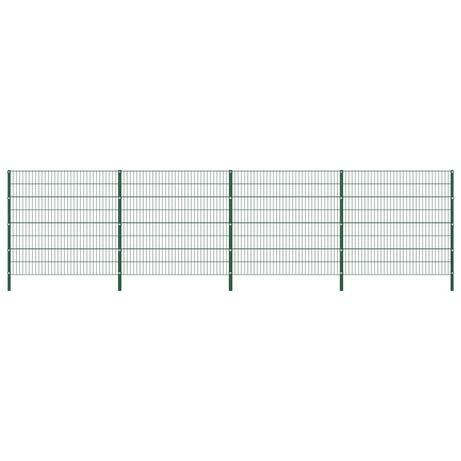 vidaXL Painel de vedação com postes ferro 6,8x1,6 m verde 278673