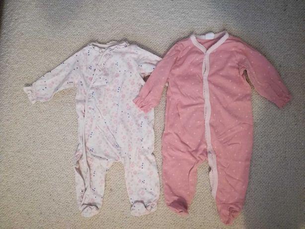 Piżamy pajace niemowlęce dziewczęce, h&m, r.56/62.