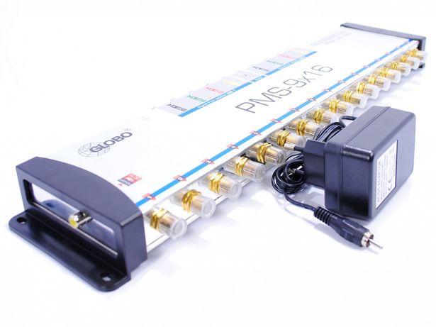 Multiswitch Globo 9x16 +zasilacz + 2 Konwertery