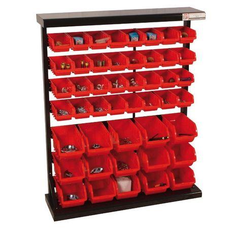Armário / estante metálico com 47 caixas stock em plástico