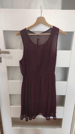 Bordowa krótka sukienka