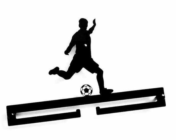 PIŁKA NOŻNA Wieszak na medale PIŁKARZ Football Wieszak METALOWY nowy