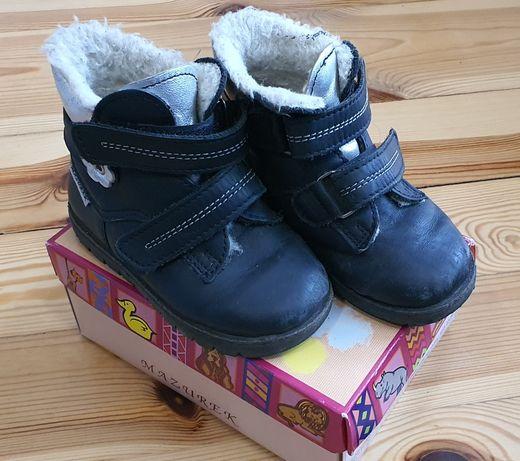 Skórzane buty zimowe dla dziewczynki rozmiar 23 Mazurek