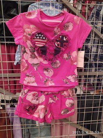 Трикотажный костюм шорты футболка на девочку