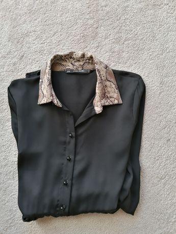 Vestido ZARA gola e punhos padrão animal.