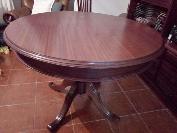 Mesa extensível em carvalho/nogueira