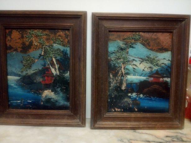2 antigas pinturas em relevo com motivos asiáticos