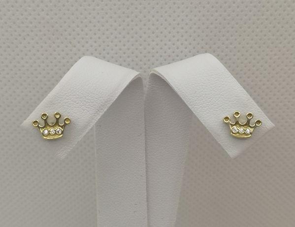 Śliczne kolczyki , korona z kamyczkami. Złoto pr. 585