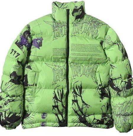 Куртка- пуховик, граффитти