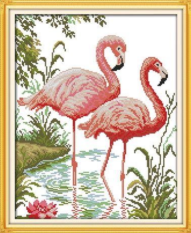 """Набор для вышивки крестом с печатью на канве """"Фламинго"""""""