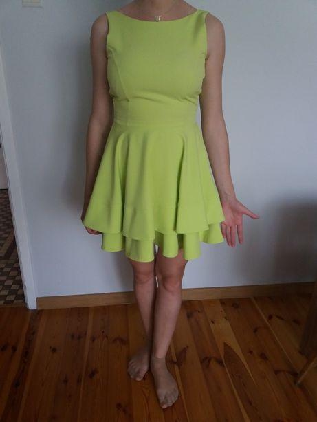 Sukienka seledyn/limonka na wesele chrzest komunie