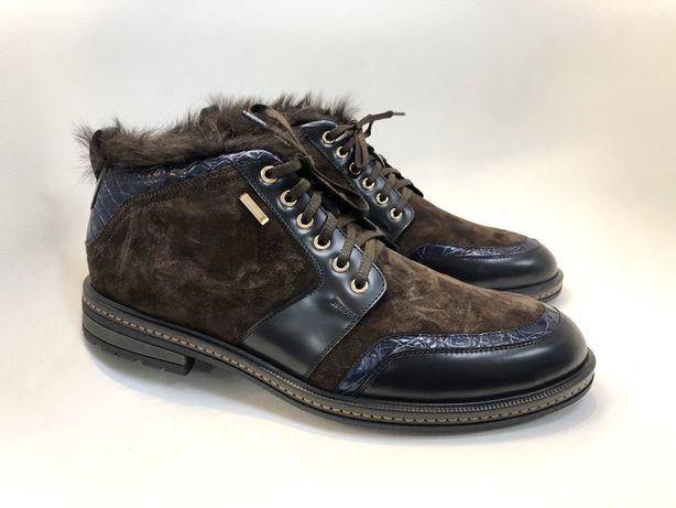 Ботинки замша с кожей крокодила 42. 45