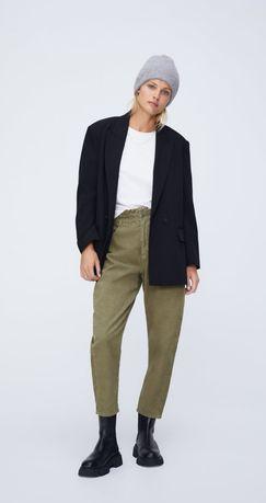 Zara вельветовые брюки свободного кроя