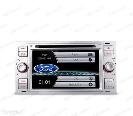 "AUTO RADIO 2DIN 7"" FORD QUADRADO COLOR CINZA PRATEADO USB GPS TACTIL HD"