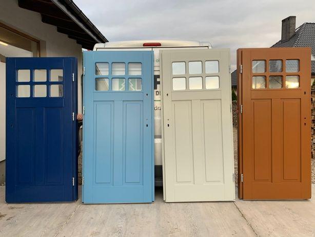 Drzwi drewniane zewnętrzne szare,czerwone,niebieskie,czarne,zielone