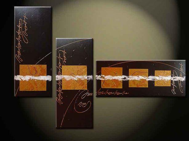 Tryptyk Jezierski 3 sztuki obraz malowany farbami olejnymi