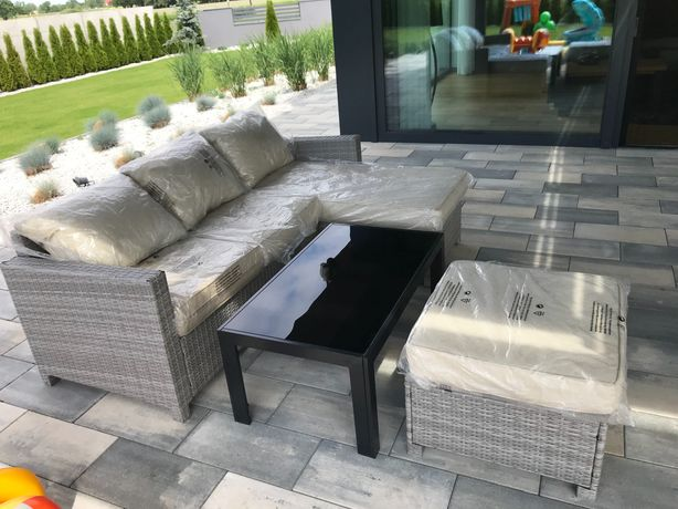 Nowy Ratanowy Wypoczynek ogrodowy kanapa stolik okazja