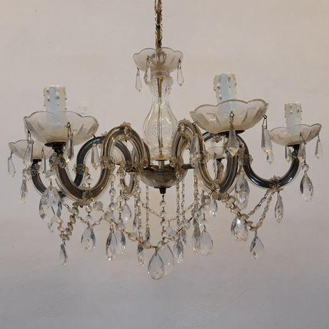 Zabytkowy żyrandol 6 ramienny mosiężny z kryształkami, lampa sufitowa