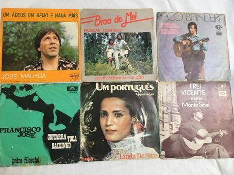 Lote 6 singles - vinil - Linda de Suza, José Malhoa, Broa de Mel, Paco