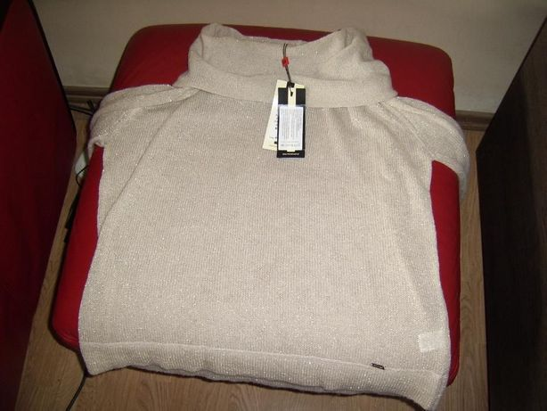 Nowy!!! Monnari sweter golf XXL / beżowy ze złotą nitką