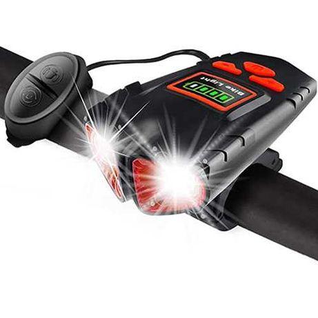 Яркая велофара с велозвонком на аккум. влагост. USB зарядк. индикация