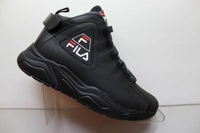 Стильные зимние кожаные кроссовки-ботинки Fila на меху.(17-1мех)