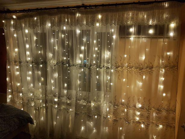 Герлянда штора золотистая 3*2 метра герлянда на окно