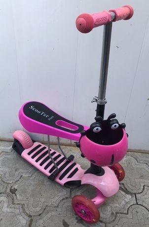 Самокат беговел велобег розовый светящийся с сиденьем
