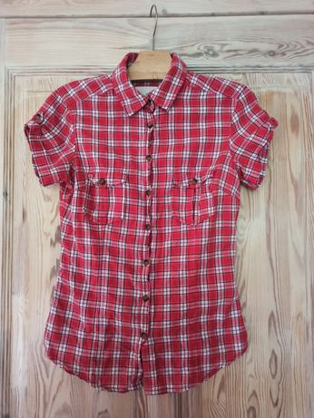 Czerwona koszula w kratkę rozmiar 34