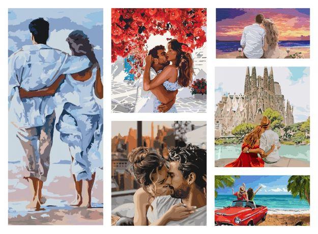Картины по номерам влюбленная пара романтика любовь нежность поцелуй