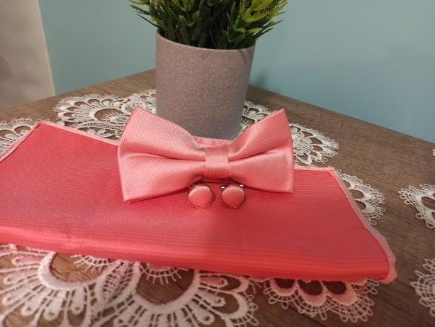 Jedwabna muszka poszetka i spinki do mankietów pudrowy róż