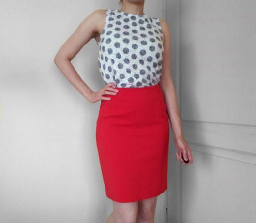Czerwona ołówkowa spódnica H&M rozmiar 36 stan idealny
