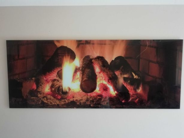 Obraz szklany kominek ogień ognisko. Duży.